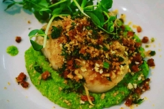 Scallops, Pea Puree and Chorizo Crumble